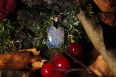 опал кабошон, искусственный камень, кулон