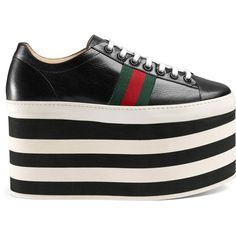 Gucci Leather Low-Top Platform Sneaker (€765) ❤ liked on Polyvore featuring shoes, sneakers, footwear, black, leather sneakers, black leather shoes, black sneakers, black platform sneakers and gucci flats