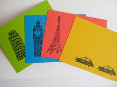 Cities Notecards Buildings from Paris London by madgeandmabel