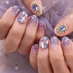 Discovered by J O A N A. Find images and videos about pretty, nails and inspiration on We Heart It - the app to get lost in what you love. Stiletto Nail Art, Cute Acrylic Nails, Pastel Nails, Gel Nail Art, Cute Nails, Pretty Nails, Asian Nail Art, Asian Nails, Gem Nails