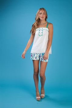 The Hannah tank with green and white piping is double adorable this spring when paired with our Lindy short in the hanging flower print.