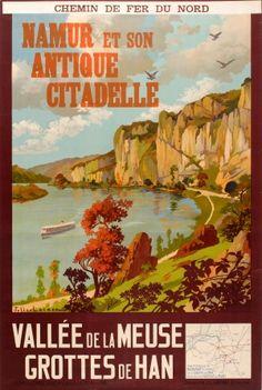 Namur Antique Citadel Belgium 1920s - original vintage poster by Julien Lacaze listed on AntikBar.co.uk