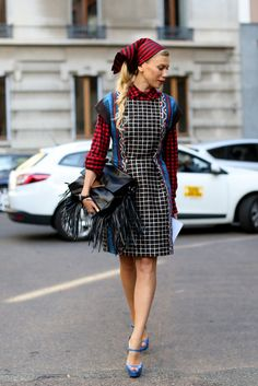 She stuck to a limited color palette but didn't limit the statement-making prints or pieces happening in this look.