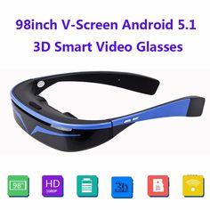 """クール98 """"16:9仮想ワイドスクリーンのandriod 5.1 wifi btビデオ眼鏡プライベートシアターでカードスロット内蔵16ギガバイトメモリ"""