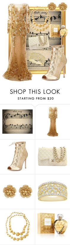 """bird"" by i-rusche on Polyvore featuring Zuhair Murad, Gianvito Rossi, Chanel, Miriam Haskell, Marco Bicego and Elizabeth Arden"