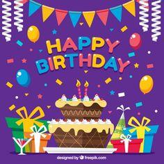 Fondo colorido con decoración un pastel de cumpleaños Vector Gratis