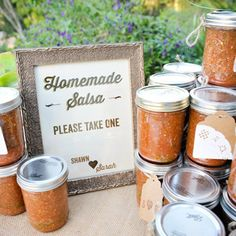Jars of Salsa. If you're hosting a low-key backyard wedding, keep the theme going with your favor! This couple hosted a bash entirely catered by a taco truck, so jars of homemade salsa were a natural fit.
