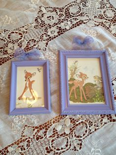 GIRL'S ROOM DECOR. Painted vintage frame bambi with by ILUMMuncie, $10.00