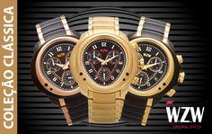 Ser clássico é ter estilo, é ser marcante, diferente, marcante e com personalidade. É isso que a Coleção Clássica da WZW Relógios traz para o seu dia-a-dia. Cronógrafos com design exclusivo e alto padrão de qualidade você encontra aqui. Confira todos os modelos e coleções de nossos relógios através do nosso site: