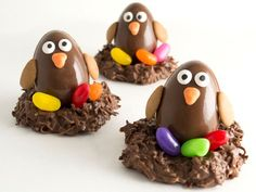 Chocolate penguins with jelly beans