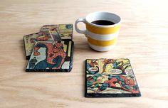 How to Decoupage Vintage Comic Books Onto Slate Coasters   eHow