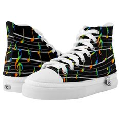 Rainbow Musical Notes Score on Black High-Top Sneakers High Top Chucks, Black High Top Sneakers, Black High Tops, Vans Sk8, Custom Sneakers, On Shoes, Converse Chuck Taylor, Sneakers Fashion, Loafers