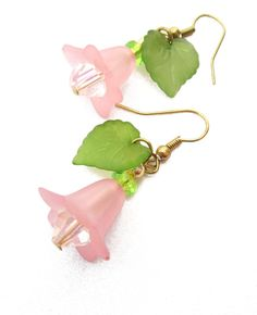 Spring Tulip Lucite Flower and Leaf Dangle Earring