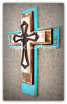 Wall Wood Cross - Medium - Antiqued Turquoise, Stain, and Beige , with a large open iron cross Wooden Cross Crafts, Wooden Crosses, Wall Crosses, Wooden Diy, Wood Crafts, Decorative Crosses, Diy Furniture Plans, Pallet Furniture, Rustic Room