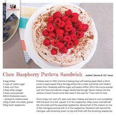 Recipe for Choc Raspberry Pavlova Sandwich Raspberry Pavlova, Baked Eggs, Recipe Cards, Gourmet Recipes, Delicious Desserts, Sandwiches, Oven, Deserts, Tray
