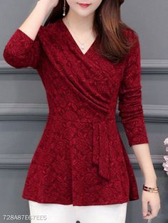 V Neck Patchwork Patchwork Blouses Get the latest womens fashion online With of new styles every day from dresses, onesies, heels, & coats, # Blouse Styles, Blouse Designs, Cheap Womens Tops, Blouses For Women, T Shirts For Women, Women's Blouses, Shirt Bluse, Mode Online, Trendy Tops