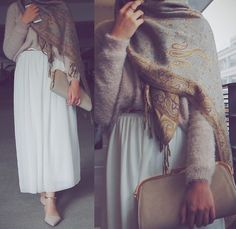 Pinterest: @eighthhorcruxx. Sweater, white skirt and hijab. Like the shoes too