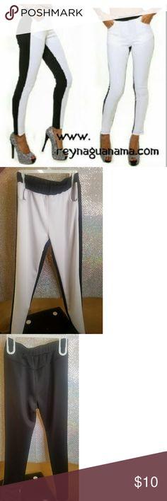 Black & White Leggings New never worn.White in front, Black in back, Size Large Leggings. Pants Leggings