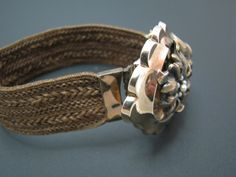 Vintage Mourning Bracelet made from Woven Hair with Gold Filled Flower Center #Unbranded