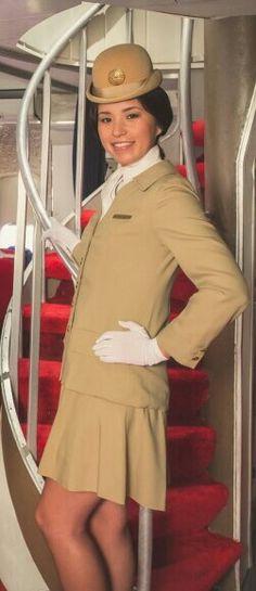 Model in original Pan Am uniform for photoshoot