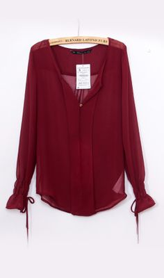 Chiffon shirt 9196 Wine red