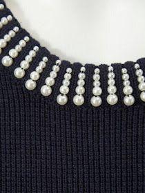bordado-en-piedras-lentejuelas-y-canutillos-en-tejido. Pearl Embroidery, Bead Embroidery Patterns, Hand Embroidery Designs, Embroidery Dress, Embroidery Stitches, Geometric Embroidery, Modern Embroidery, Diy Pullover, Dress Patterns