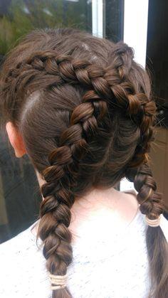 Criss cross dutch braids Dutch Braids, Criss Cross, Dreadlocks, Hair Styles, Beauty, Beleza, Dreads, Hair Makeup, Hair Looks