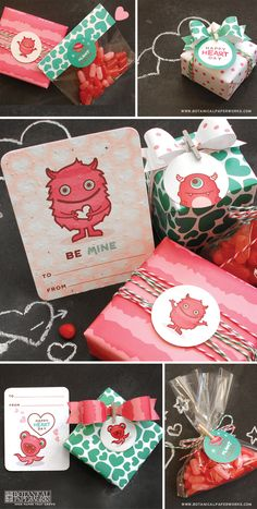 Free Printable: kid's Valentine's Day eco monster stickers & gift wrap