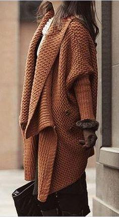 Love! Love! Love! Want! Brown Long Sleeve Lapel Knitwear Coat