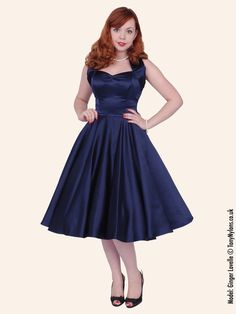 FROM THE UK!!!! 1950s Halterneck Navy Duchess Dress