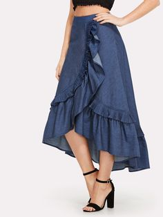To find out about the Asymmetrical Ruffle Trim Denim Skirt at SHEIN, part of our latest Skirts ready to shop online today! Denim Fashion, Fashion Pants, Look Fashion, Fashion Outfits, Dress Fashion, Ruffle Skirt, Dress Skirt, Ruffle Trim, Pleated Skirt