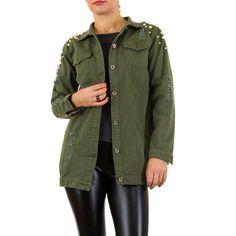 19,99 € - Lange grüne Jeansjacke mit klassischem Kragen.
