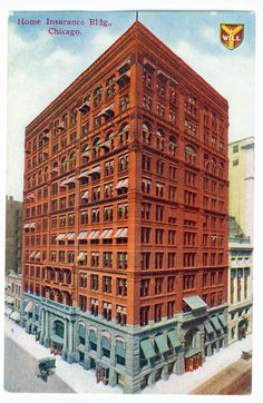 The Home Insurance Building was built in 1884 in Chicago, Illinois, USA and demolished in 1931 to make way for the Field Building (now the LaSalle National Bank Building). It was the first building to use structural steel in its frame, but the majority of its structure was composed of cast and wrought iron. William LeBaron Jenney