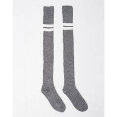 Double Striped Over-the-Knee Socks ($16) ❤ liked on Polyvore featuring intimates, hosiery, socks, knit socks, white socks, white striped socks, white hosiery and above the knee socks