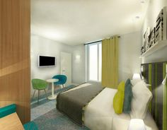 Discover the 3D pictures of the Hotel Mareuil's bedrooms! It is going to be colorful and modernly designed. More about it here : http://hotelmareuil.com/hotel-parisien-marais-bastille/chambres/