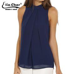 Chiffon Sleeveless Blouse 2016 Women Tops Elia Cher Brand Plus Size Causal Blouses Chic Elegant Lady Shirts Summer Tops Blusas