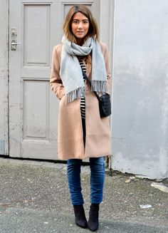 black booties, jeans, striped shirt, and camel colored coat. Easy winter style I can actually do!
