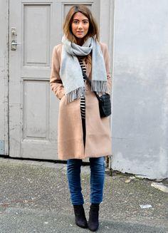 Camel coat + grey scarf.