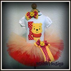 Cutie Pooh Bear Birthday tutu set