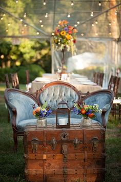 What a lovely lounge and Liza and Pete's outdoor wedding reception! Our vintage wooden trunk, copper lantern and Estelle settee look simply divine! *Paisley & Jade vintage & Eclectic Furniture Rentals for Events, Weddings, Theatrical Productions & Photo Shoots* Image by Allyson Jessup Photography
