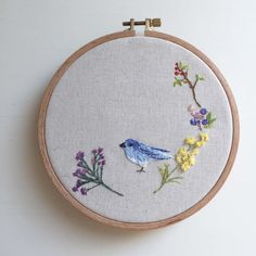 Freedom of Blue Bird - Damar Flycatcher, unique decoration, embroidery art
