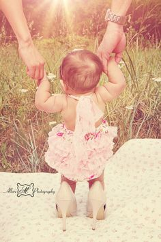 Baby girl in mommy's heels, Daughter in Heels, Baby girl photography l © Allure M Photography
