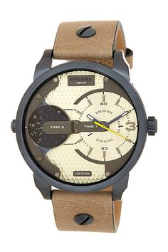 Men's Mini Daddy Leather Strap Dual Time Zone Watch