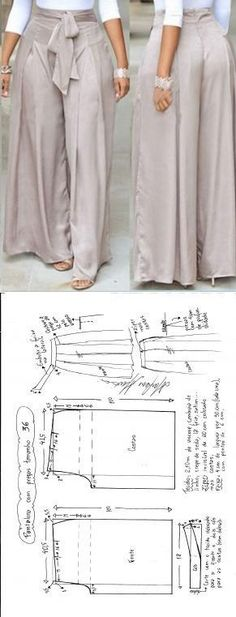 Calça Pantalona com pregasFat ass looks bad in pants like thisDiscover thousands of images about FREE Sewing Patterns - Pants & SkirtsMany beginners in sewing often argue that they do not have any need for special sewing furniture. Fashion Sewing, Diy Fashion, Ideias Fashion, Fashion Outfits, Diy Clothing, Clothing Patterns, Sewing Patterns, Wrap Dress Patterns, Sewing Pants