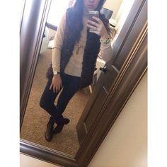 Corduroy, cashmere and fur vest