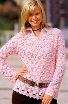 rosa de ganchillo suéter