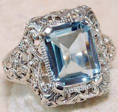 Aquamarine Solid Sterling Silver ring of weight by HomeOfMagic, $45.00
