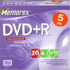 Memorex DVD+R 16x 5 Pack by Memorex. $4.19. The DVD+R is used with recordable drives that support DVD+R media. The DVD+R disc is write-once, single sided and can store up to 4.7GB of data or 2 hours of video.. Save 90%!