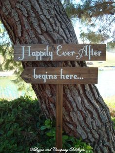 HaPPiLy EVeR AfTeR SiGn - Fairy Tale Style Lettering - DiReCTioNaL Wedding SiGnS - 4ft Stake - RuSTic & WooDLanD Wedding Sign - Dark Stain