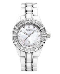 Bulova Accutron Watch, Women's Swiss Mirador White Ceramic and Stainless Steel Bracelet 65R135 - Women's Watches - Jewelry & Watches - Macy's